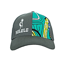 Dark Grey And Cyan Baseball / Sports Hat With Kelele Color On Panel