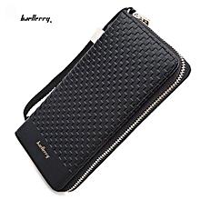 Men Baellerry Weave Plaid Letter Zipper Clutch Portable Wallet - Black