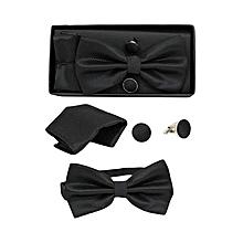Men's Bow Tie, Cufflinks & Pocket Square Set - Black
