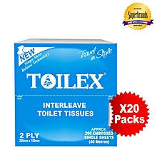 White Interleave Toilet Tissues - 20 Packs in a Bale