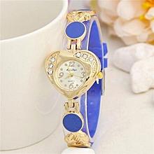 Loving Heart Surface Silicone Crystal Diamond Dress Women Watches Relojes Mujer Ladies Hour Fashion Quartz(Blue)