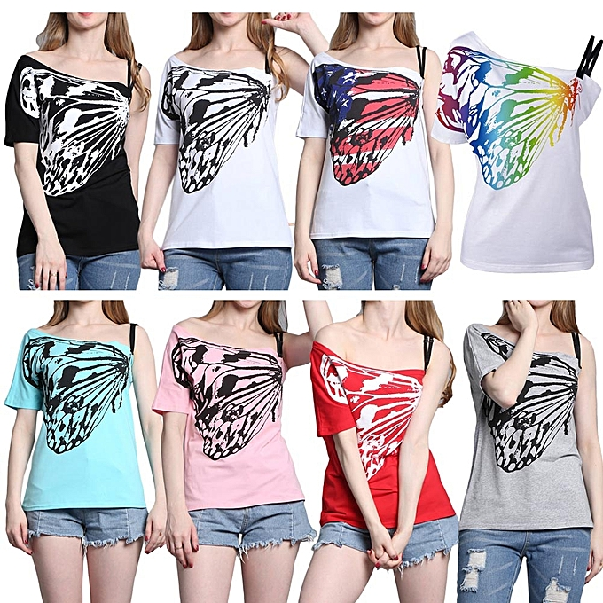 aa7d9a2f388c02 Summer Women Off Shoulder T-Shirt One Shoulder Short Sleeves Butterfly  Print Loose Solid Casual