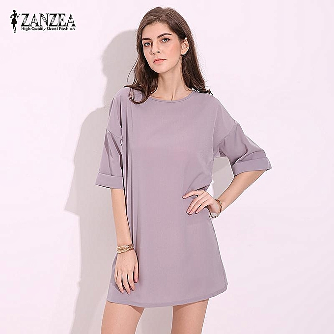 e46beea3d83b Summer Vestidos Fashion Women Casual Loose Shirt Dress Plus Size 3 Colors  Ladies Short Sleeve Solid