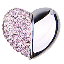 Pink 8GB Half Diamond And Half Aluminum Alloy Heart Shape Crystal USB Flash Drive With Necklace