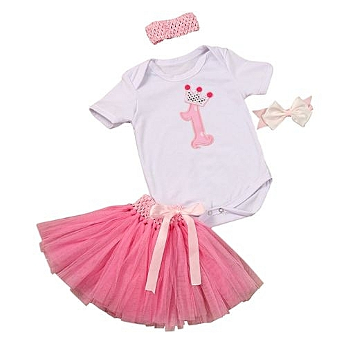bafbf1f3cc7 Eissely 3PCS Baby Girl Headband 1st Birthday Outfit Party Romper Skirt Dress  Set Clothes - Pink