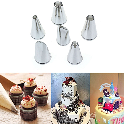 Buy Generic 6x Diy Stainless Steel Icing Piping Nozzles Pastry Tips