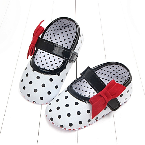 Mother & Kids Baby Girl Soft Sole Shoes Dots Bowknot Toddler Anti-slip Shoes Newborn To 12m