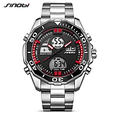 Mens Watches SINOBI Top Brand Luxury Fashion Sport Wrist Watch Dual Digital Movt Clock Military LED Relogio Masculino (Red) BDZ