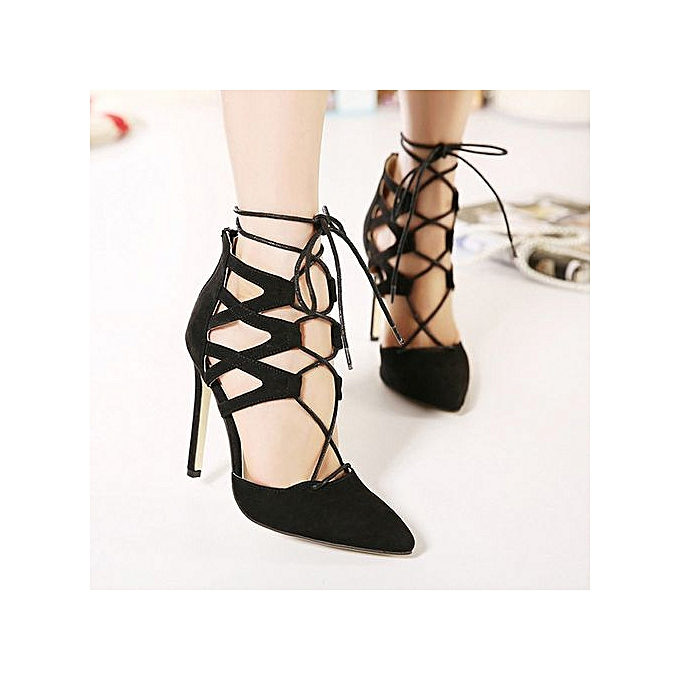 ee9cb1f4ab0 Jiahsyc Store Women Ladies High Block Heels Ankle Strappy Lace-UP Sandals  Party Sandals Shoes