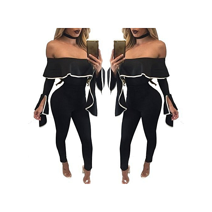 ea04a20b00db Women Casual Sexy Off Shoulder High Waist Long Pant Wide Leg Ruffle Party  Lace Jumpsuits Rompers