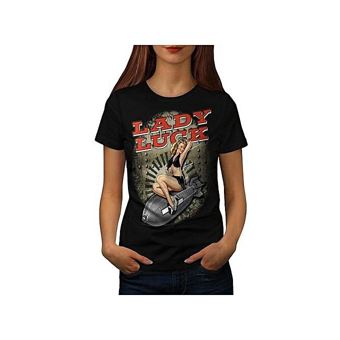347c5ff01 Hot Woman Riding Bomb Lady Women Black T-shirt