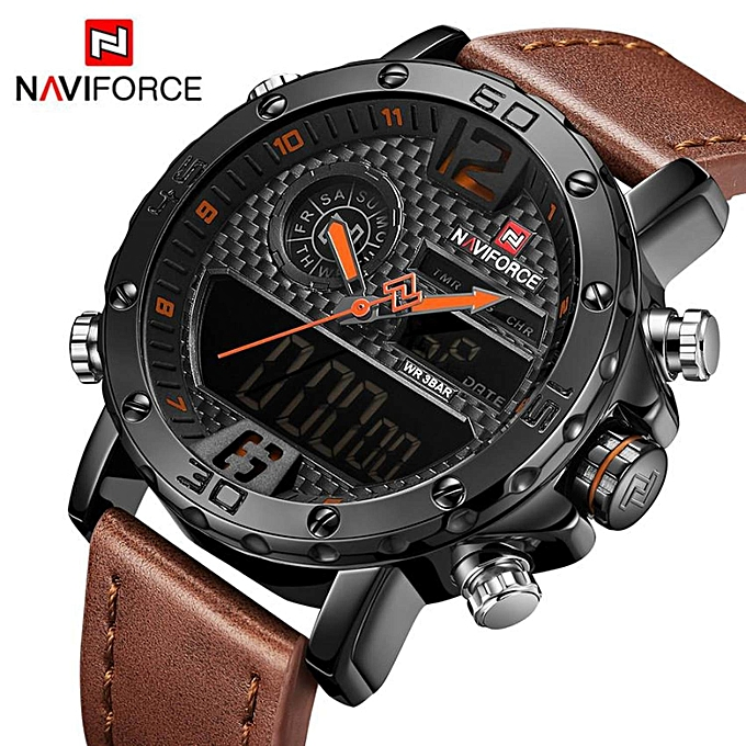 10d8e1124 2018 NEW Men Sport Watches NAVIFORCE Top Brand Waterproof LED Digital Wrist Watch  Mens Luxury Analog