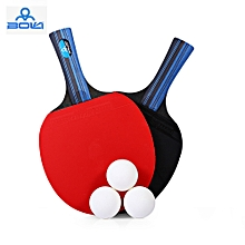 2pcs/Set Table Tennis Rubber Ping Pong Training Racket short Handle - Red
