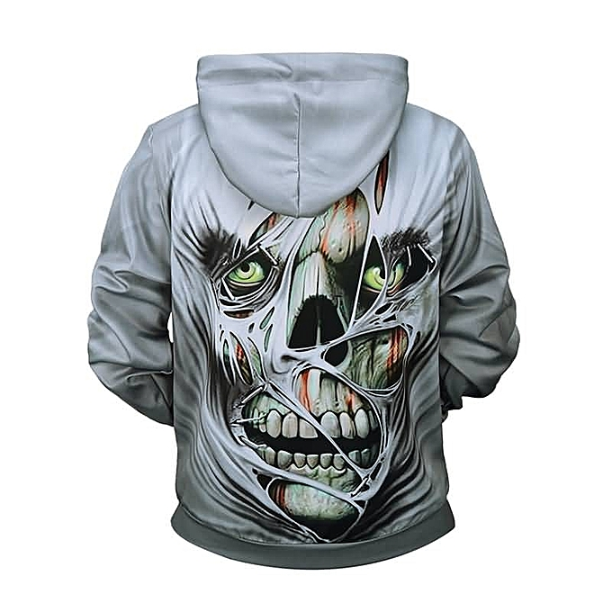 5073dd3a8ed4 Passion Pie Halloween Men s Creative Horror Skull 3D Print Hoodie ...