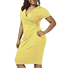 Women Overlap Plain Tight Surplice Sheath Dress - Yellow