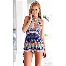 Hot Fashion High Waist Gorgeous Bohemia Multi Straps Print Chiffon Jumpsuits Backless Playsuit