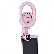 Universal 32 LED Light 15X Macro Lens 0.6X Wide Angle Lens Phone Clip Pink