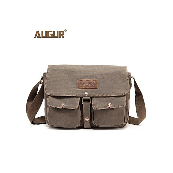 Augur Vintage Canvas Crossbody Messenger Bags Army Green