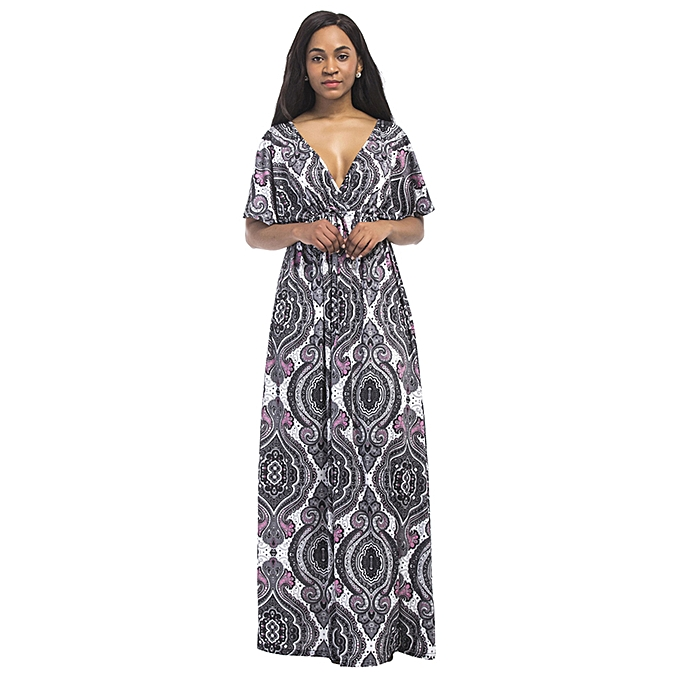 fa17cffb418 Vintage Women Plus Size Maxi Dress Geometric Print Plunge V-Neck Short  Sleeves Bohemian Long