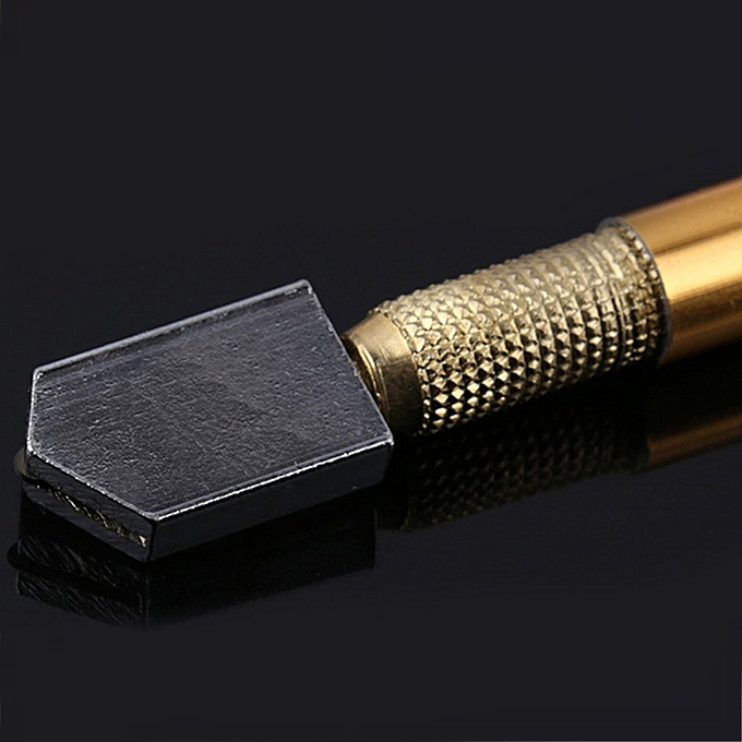 Metal Handle Steel Rhinestone Self-lubricating Oil Feed Tipped Glass Cutter  gold color