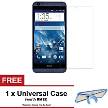 HTC Desire 626 / 626G+ Premium Tempered Glass Screen Protector + FREE Universal Rubber Case (Color:c0)