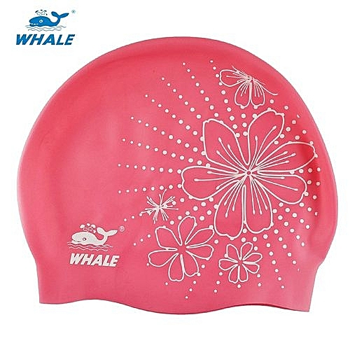 2842b0c7e0df Whale Durable Flexible Sporty Silicone Swimming Swim Cap Bathing Hat Unisex  Dive Swimwear(Pink)