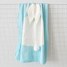 Hot style three-dimensional bunny rabbit ears blanket blanket children knitted baby blankets baby blankets beach mats # Light blue