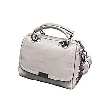 singedanCasual Leather Handbag Shoulder Bag Messenger Bag Larger Size Winter Women BagGY -Gray