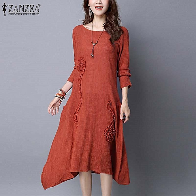 8e3def0d7f8 ZANZEA Women Elegant Style Brief Plain Dresses Spring Casual Loose Dress  Robe Long Sleeve Irregular Long