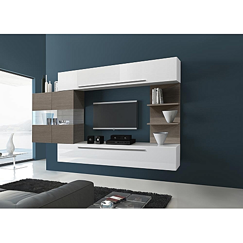 Roman Design White Tv Stand Set With Safari Led Wood