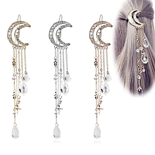 Women Moon Crystal Rhinestone Beads Dangle Hairpin Hair Clip