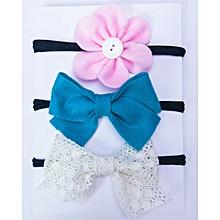 Felt Flower, Bow and Cotton Lace Bow Headband- Set of 3