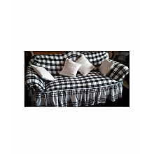 Sofa Seat Covers -3+2+1+1 - Checked Black