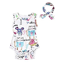 Baby Girl Sleeveless Romper Graffiti Print Toddler Onesie Jumpsuit + Headband Size:Seventy