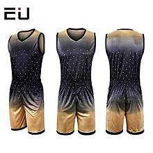 Customized Men's Basketball Training Sports Jersey Shirts Short Set-Gold(1611)