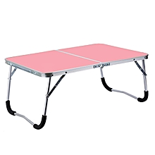 Rubber Mat Adjustable Portable Laptop Table Folding Stand Computer Reading Desk Bed Tray (Pink)