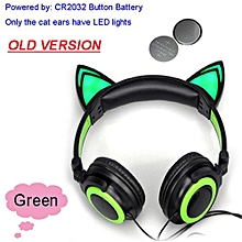 Foldable Flashing Glowing Cat Ear Headphones Gaming Headset Earphone With LED Light For PC Laptop Computer Mobile Phone Green