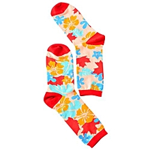 Men Women British Style Soft Comfort Socks Geometry Contrast Color Cotton Stockings Color:Leaf Size Size: