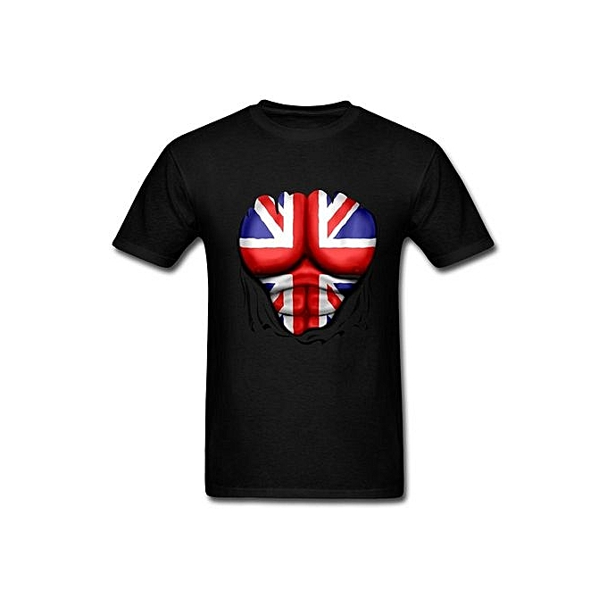ed5adc5b115 New Design Men's Tees UK Flag Ripped Muscles Six Pack Chest T-shirt Short  Sleeve