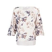 Women Grey and White Floral Double Layered Casual Chiffon Blouse