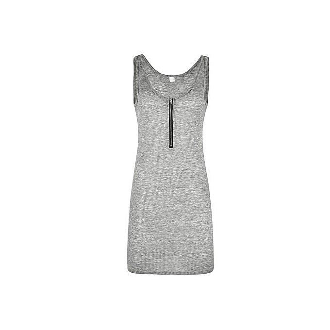 a68253189c801f Hiaojbk Store Seay Women Summer O Neck Zipper Mini Dresses Sleeveless Solid Tank  Dress -Gray