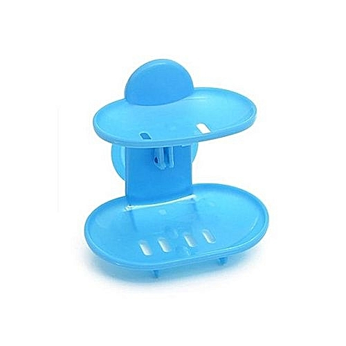 836c8af3b56 Generic Double Layers Bathroom Soap Holder Rack Strong Suction Cup Type  Soap Basket- Blue