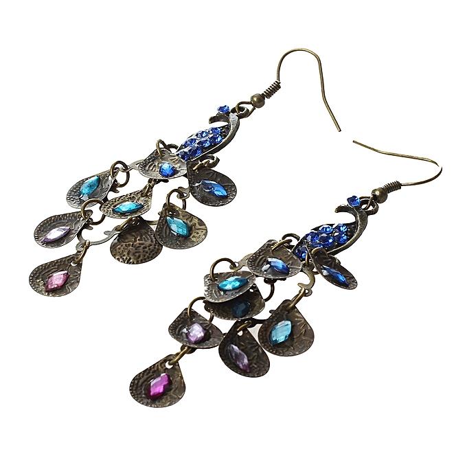 00f58723328ab7 ... Lady Vintage Retro Blue Rhinestone Crystal Dangle Prancing Peacock Hook  Earrings ...