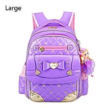 Chic Kids Waterproof Backpack for Girls Children Primary Student School Book Bag#Large Purple