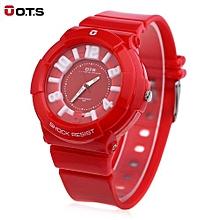 Women Luminous Pointe Watch 3D Arabic Numerals Display Wristwatch-WATERMELON RED