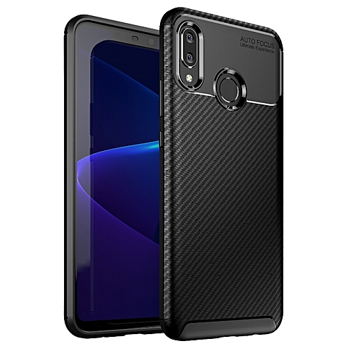 Huawei Nova 3(Nova3) Silicone Case TPU Carbon Fiber Pattern Anti-knock  Phone Back Cover - Black