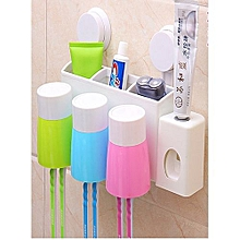 Automatic Toothpaste Dispenser and 6 Toothbrush Holder Set - Multicolour