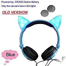 Foldable Flashing Glowing Cat Ear Headphones Gaming Headset Earphone With LED Light For PC Laptop Computer Mobile Phone Blue