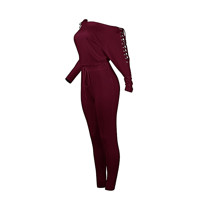 71e89cfa200 ... jiuhap store Womens Sexy Overalls Long Sleeve Casual Rompers Summer Off  Shoulder Jumpsuit-Wine Red ...