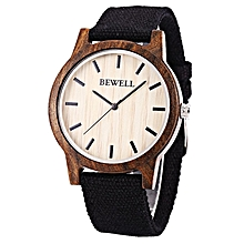 Unisex Wooden Quartz Watch Canvas Band [ZS-W134A] - Ebony